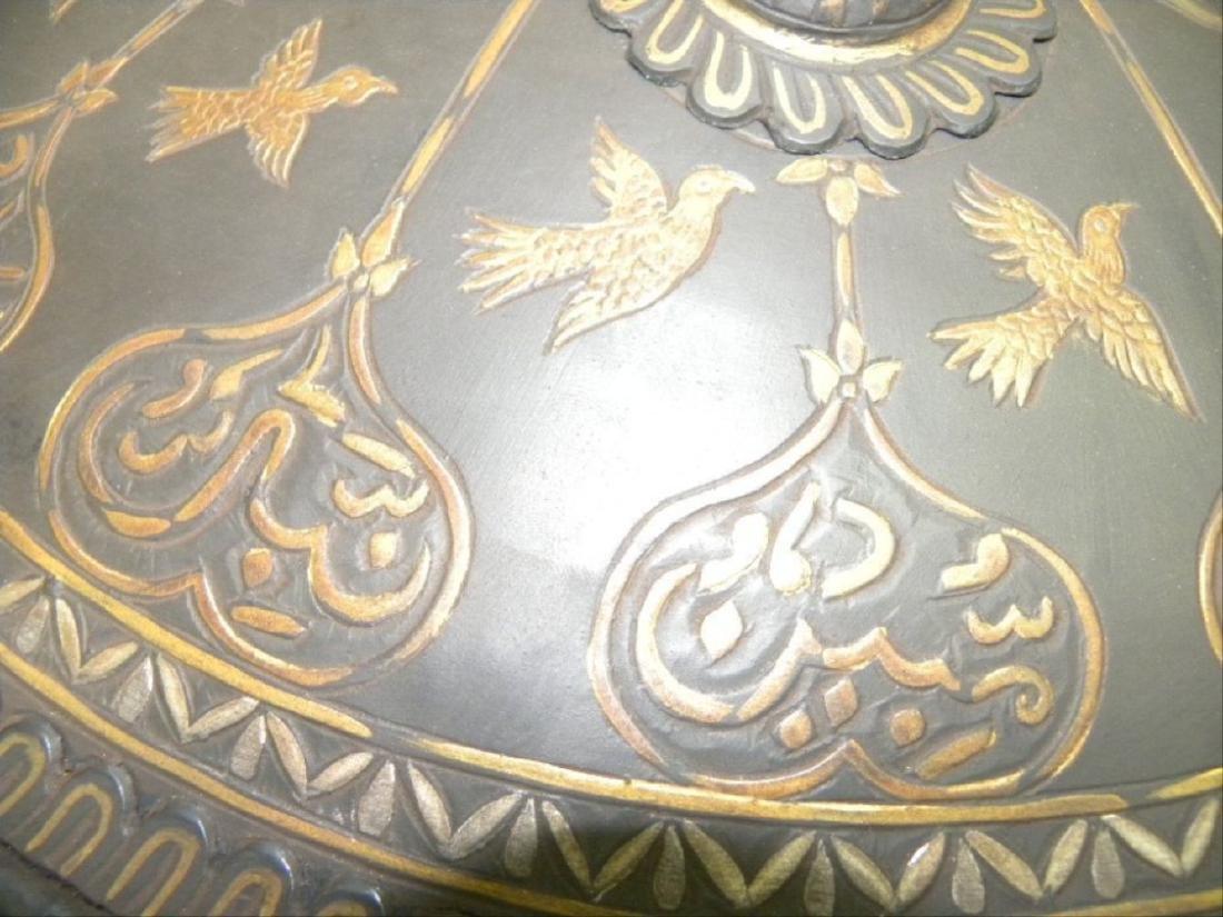 Antique Persian Mughal Warrior Shield 16 Bird & Arabic - 6