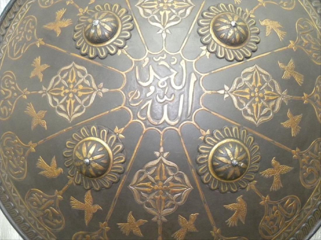 Antique Persian Mughal Warrior Shield 16 Bird & Arabic - 7