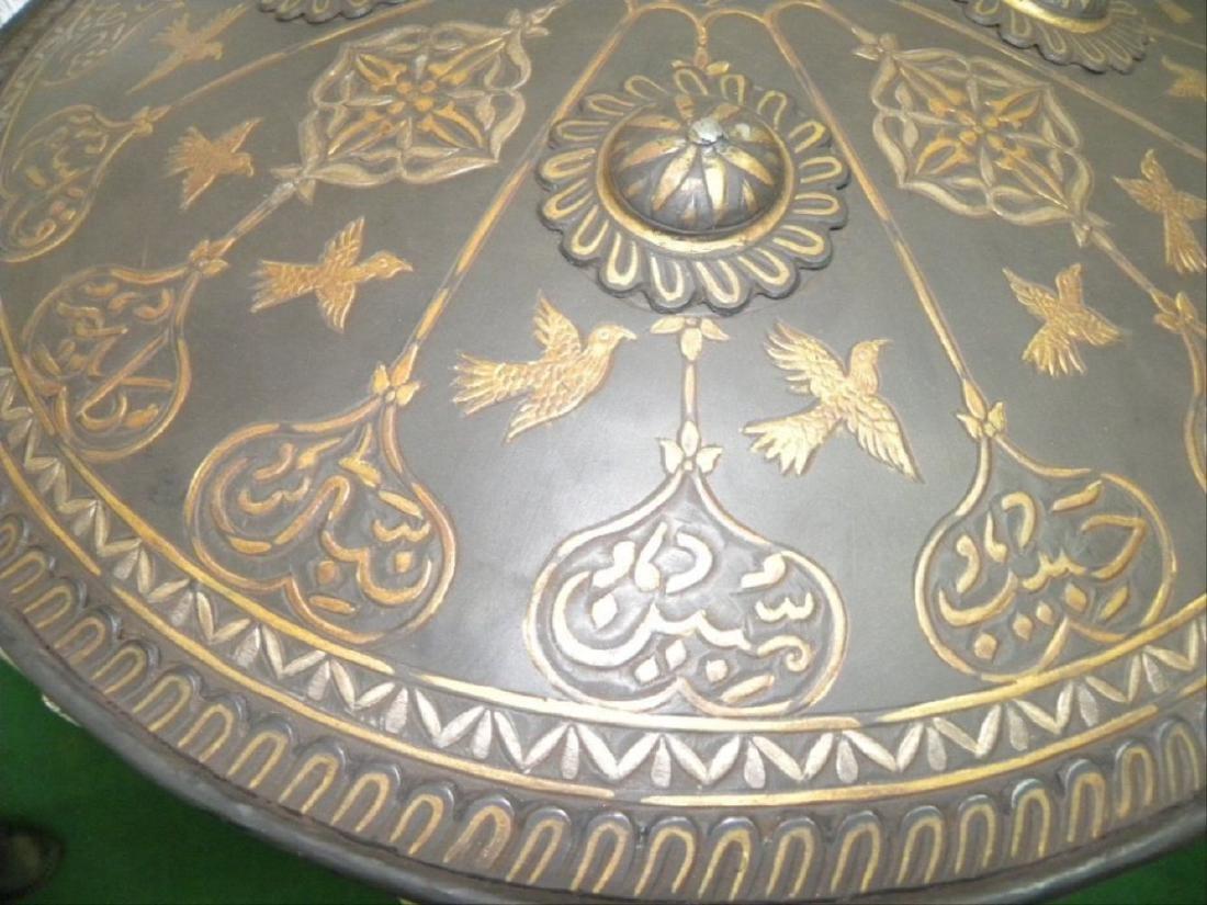 Antique Persian Mughal Warrior Shield 16 Bird & Arabic - 8