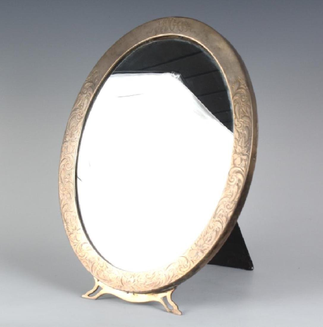 Old Sterling Silver Oval Etched Standing Mirror
