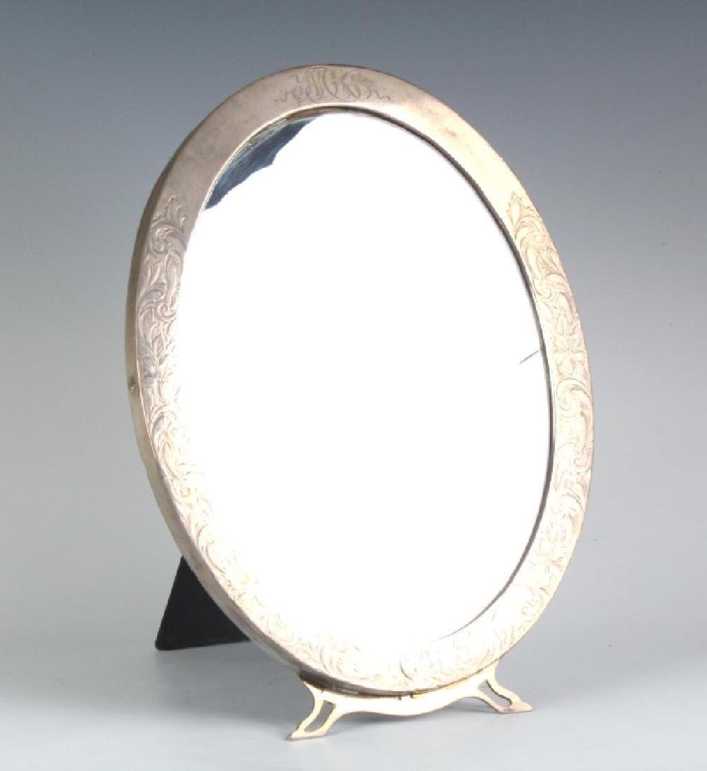 Old Sterling Silver Oval Etched Standing Mirror - 5
