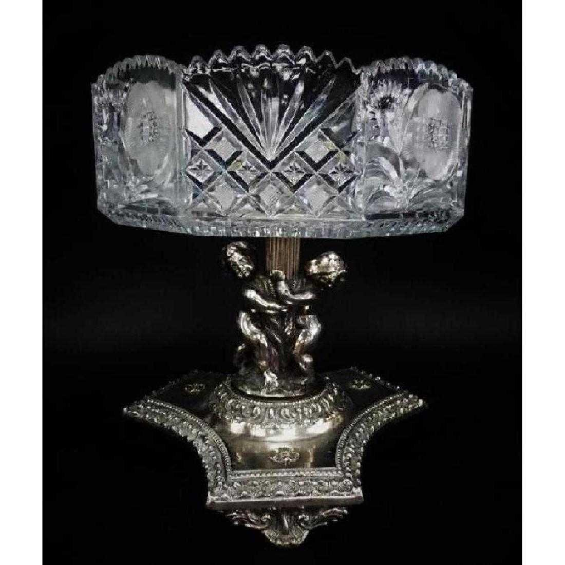 Silver Over Bronze Putti Cut Crystal Center Bowl