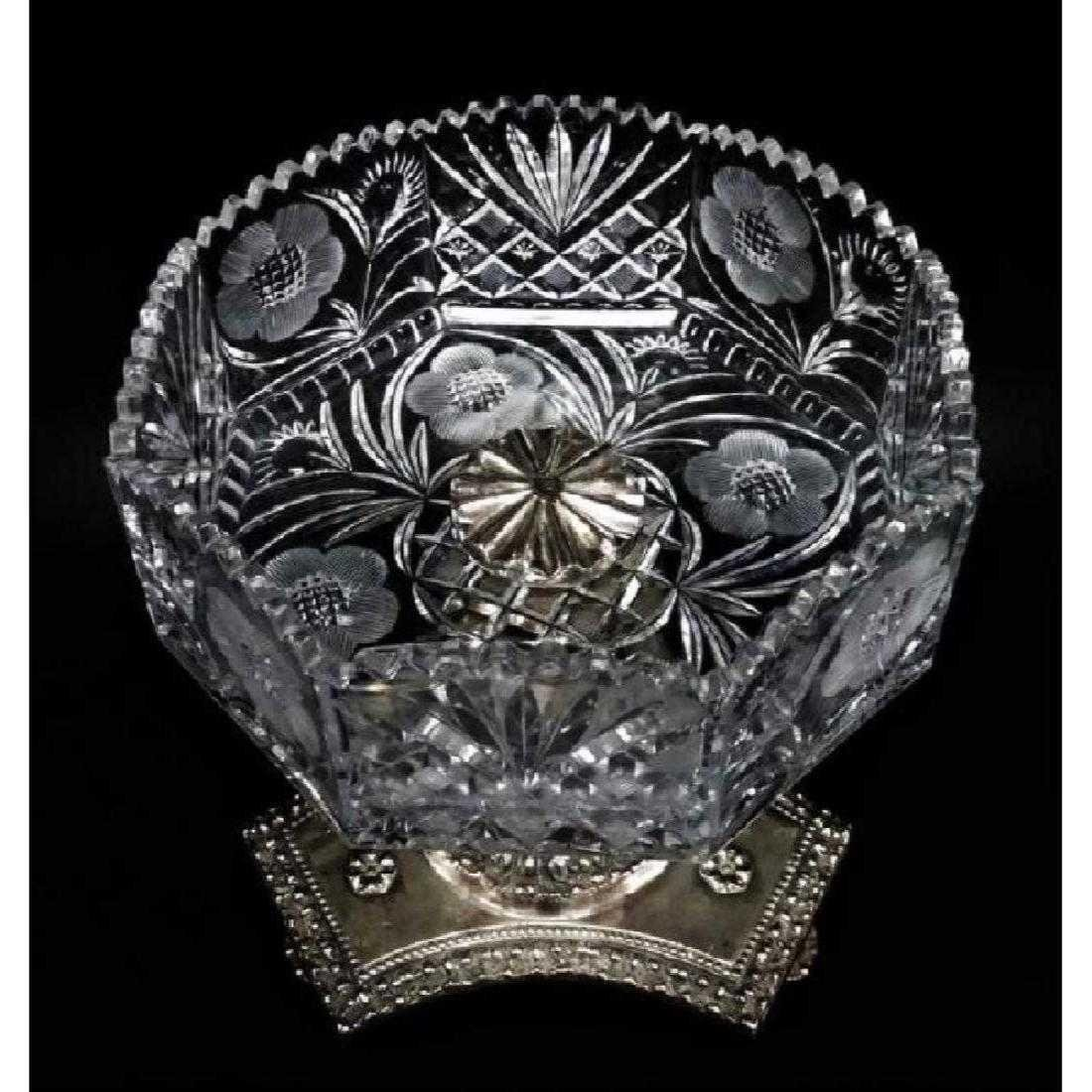 Silver Over Bronze Putti Cut Crystal Center Bowl - 2