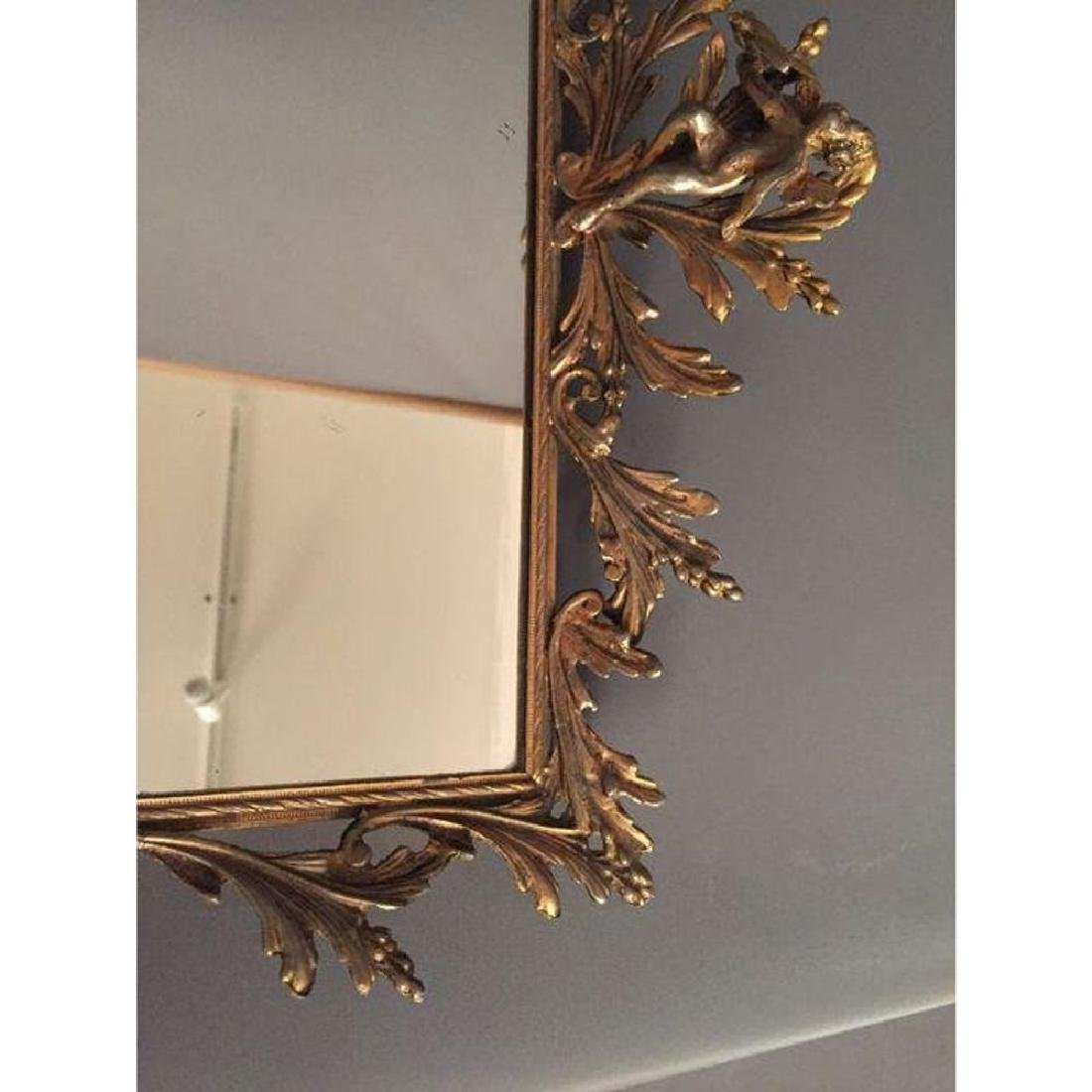 Antique French Mirror Brass Tray - 4
