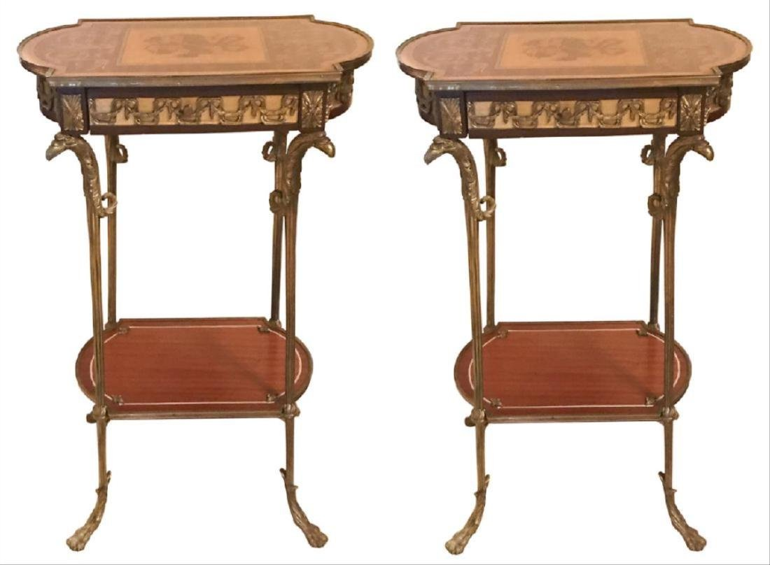 Pair Of Continental Neo-Classical Inlaid Stands