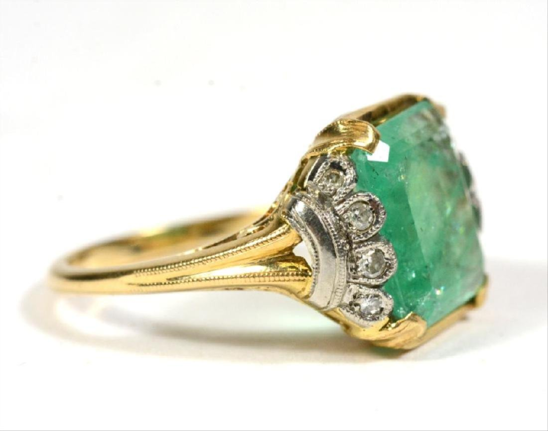 14K Yellow Gold Emerald Diamond Ring - 2