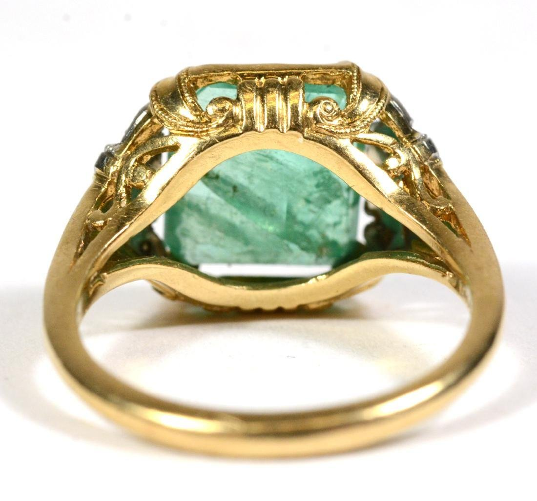 14K Yellow Gold Emerald Diamond Ring - 3