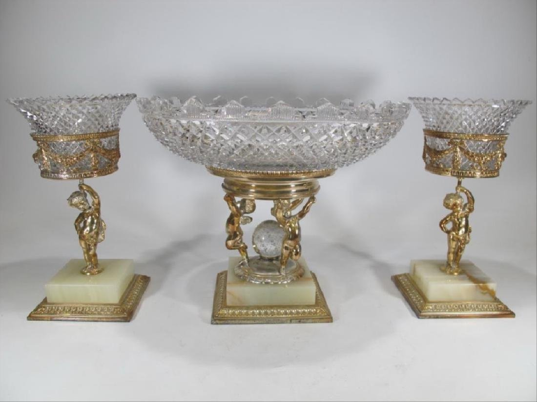 Antique Pairpoint Set Of 3 Bronze & Crystal Pieces