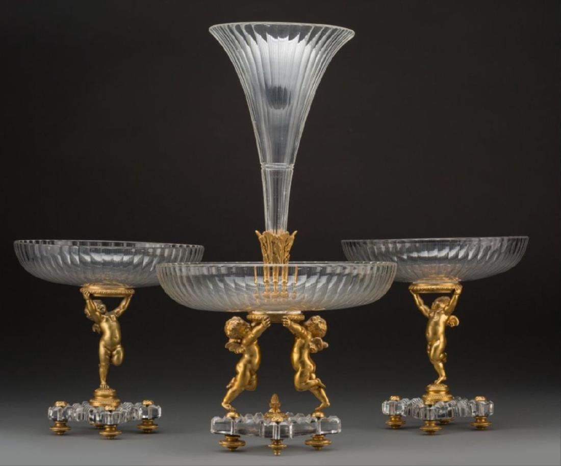 Three-Piece Baccarat Gilt Bronze And Cut-Glass Figural