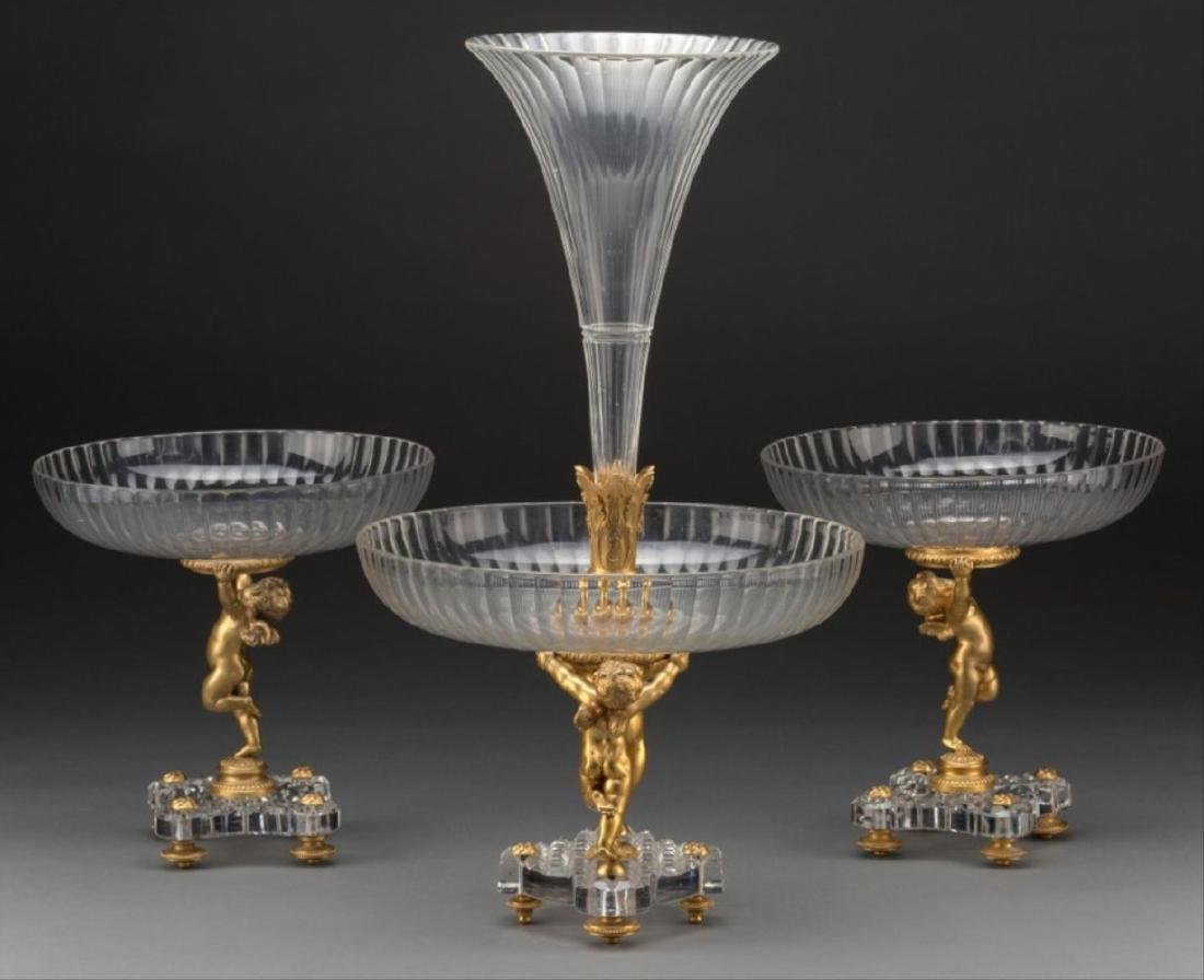 Three-Piece Baccarat Gilt Bronze And Cut-Glass Figural - 2