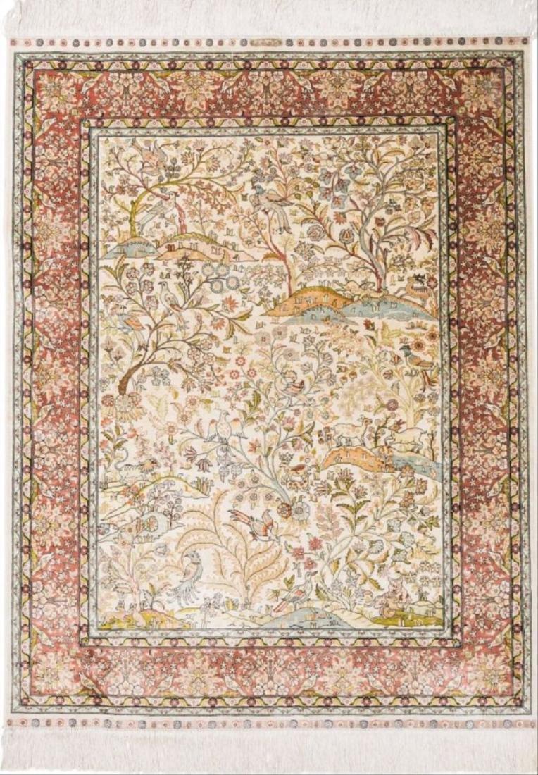 Persian Silk And Bullion Prayer Rug 5 Feet