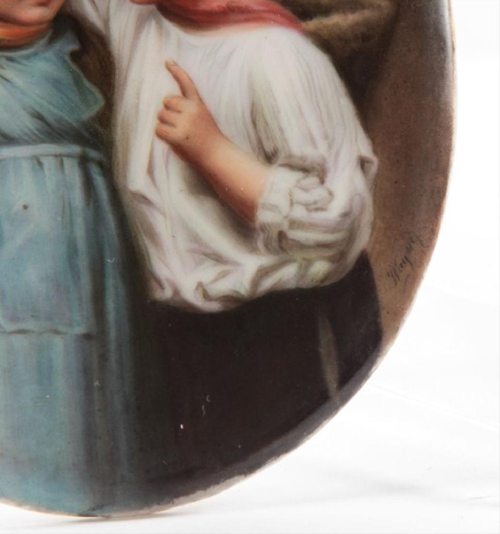 German Porcelain Plaque Signed Wagner 19Th Century - 2