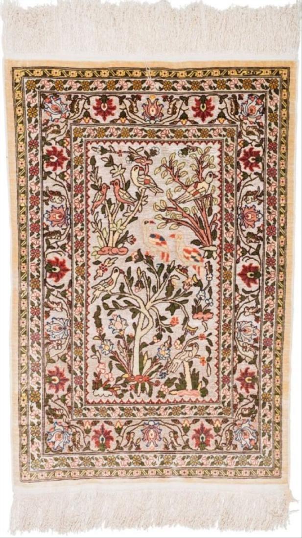 Persian Silk And Bullion Prayer Rug 3.5 Feet