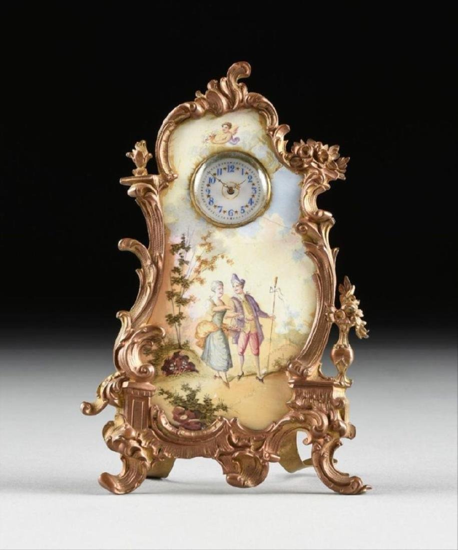 Continental Miniature Gilt Bronze And Enamel Clock