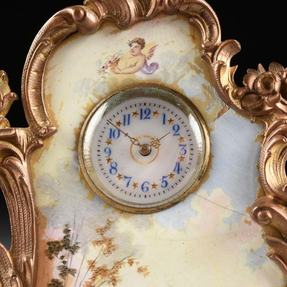 Continental Miniature Gilt Bronze And Enamel Clock - 2