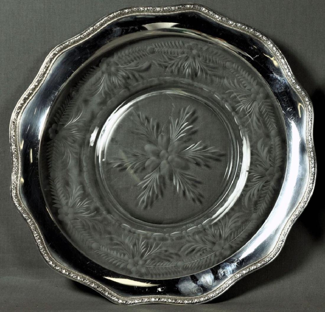 Etched Glass And Silver Rim Serving Trays
