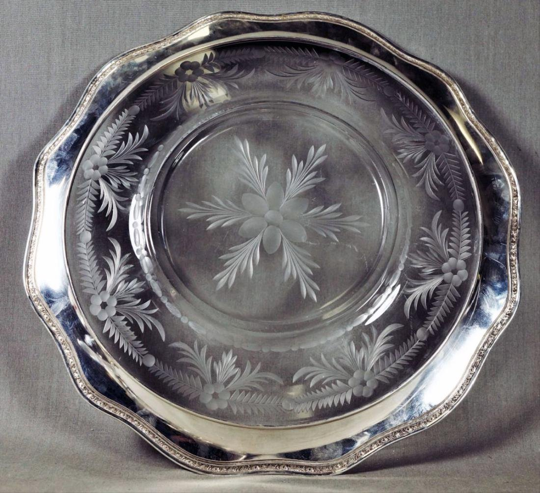 Etched Glass And Silver Rim Serving Trays - 2