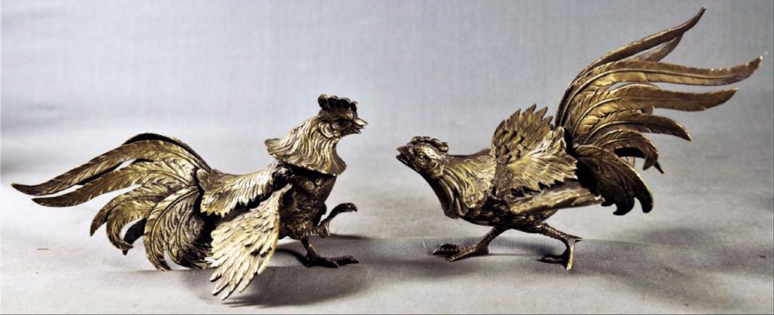 Pair Of Gilt Decorated Metal Birds