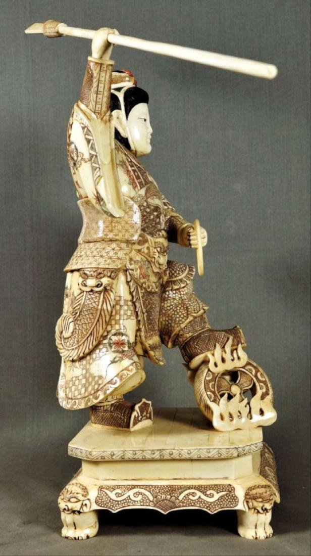 Chinese Carved And Enameled Figure Of A Warrior - 2