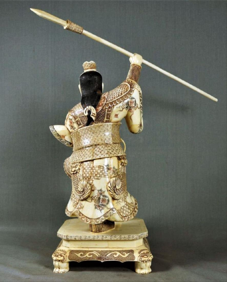 Chinese Carved And Enameled Figure Of A Warrior - 3