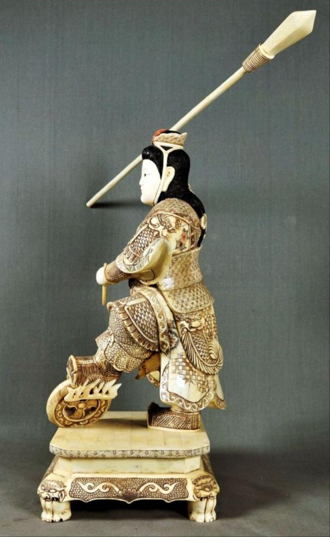 Chinese Carved And Enameled Figure Of A Warrior - 4