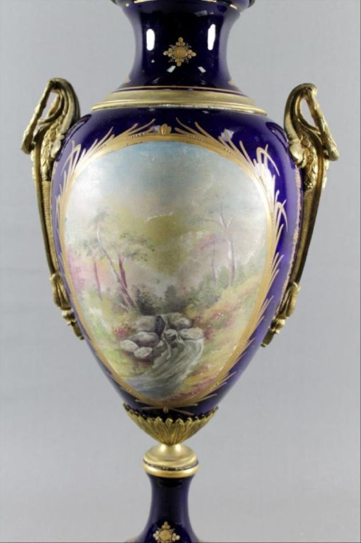 Pair 19Th C Signed Sevres Porcelain Gilt Metal Mounted - 7