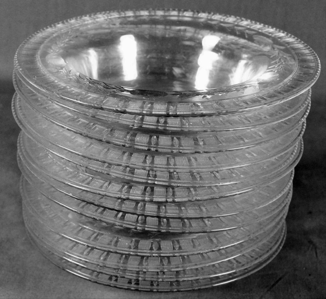 Twelve Etched Glass Bowls