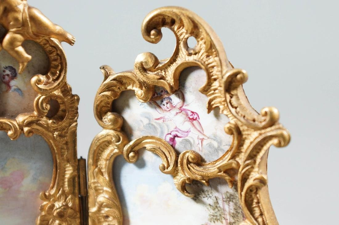 Antique Viennese Enamel Bronze Ormolu Miniature 3 Panel - 5