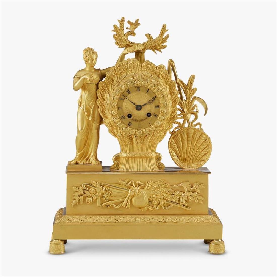 19Th C. Louis Philippe Ormolu Figural Mantel Clock