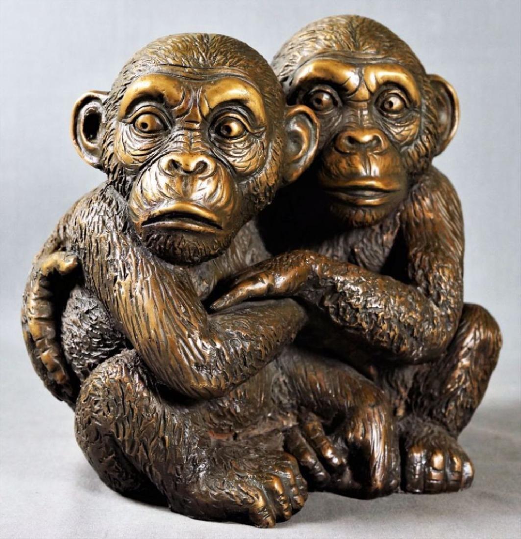 Bronze Figure Of Two Monkeys