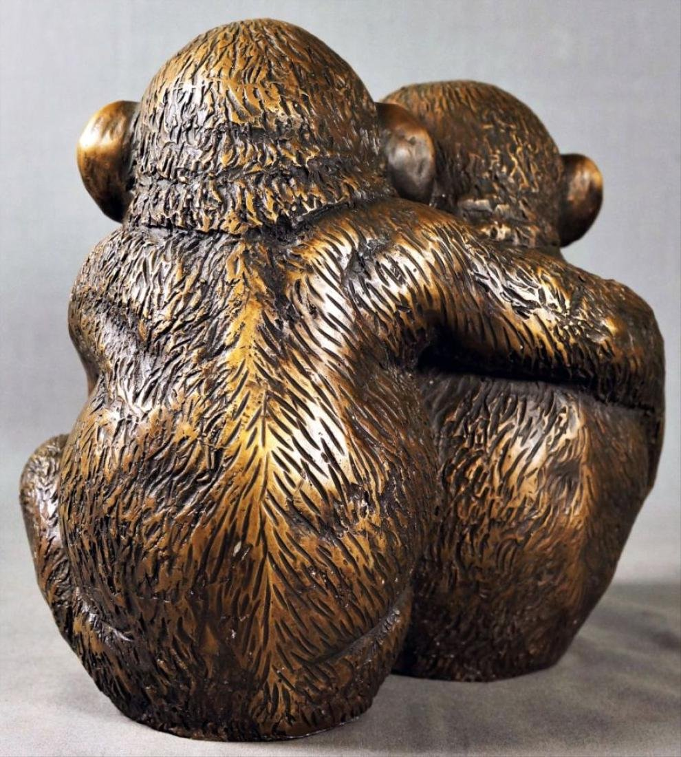 Bronze Figure Of Two Monkeys - 2