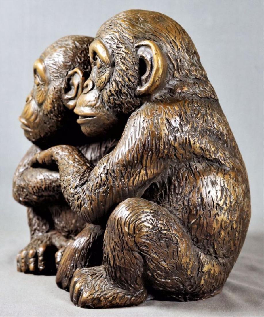 Bronze Figure Of Two Monkeys - 3