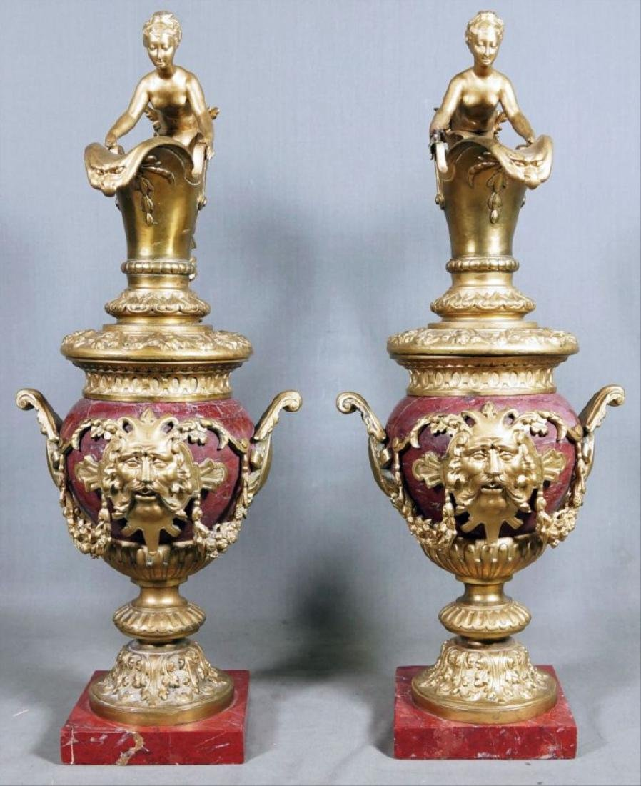 Pair Of Rouge Marble And Gilded Bronze Urns - 2