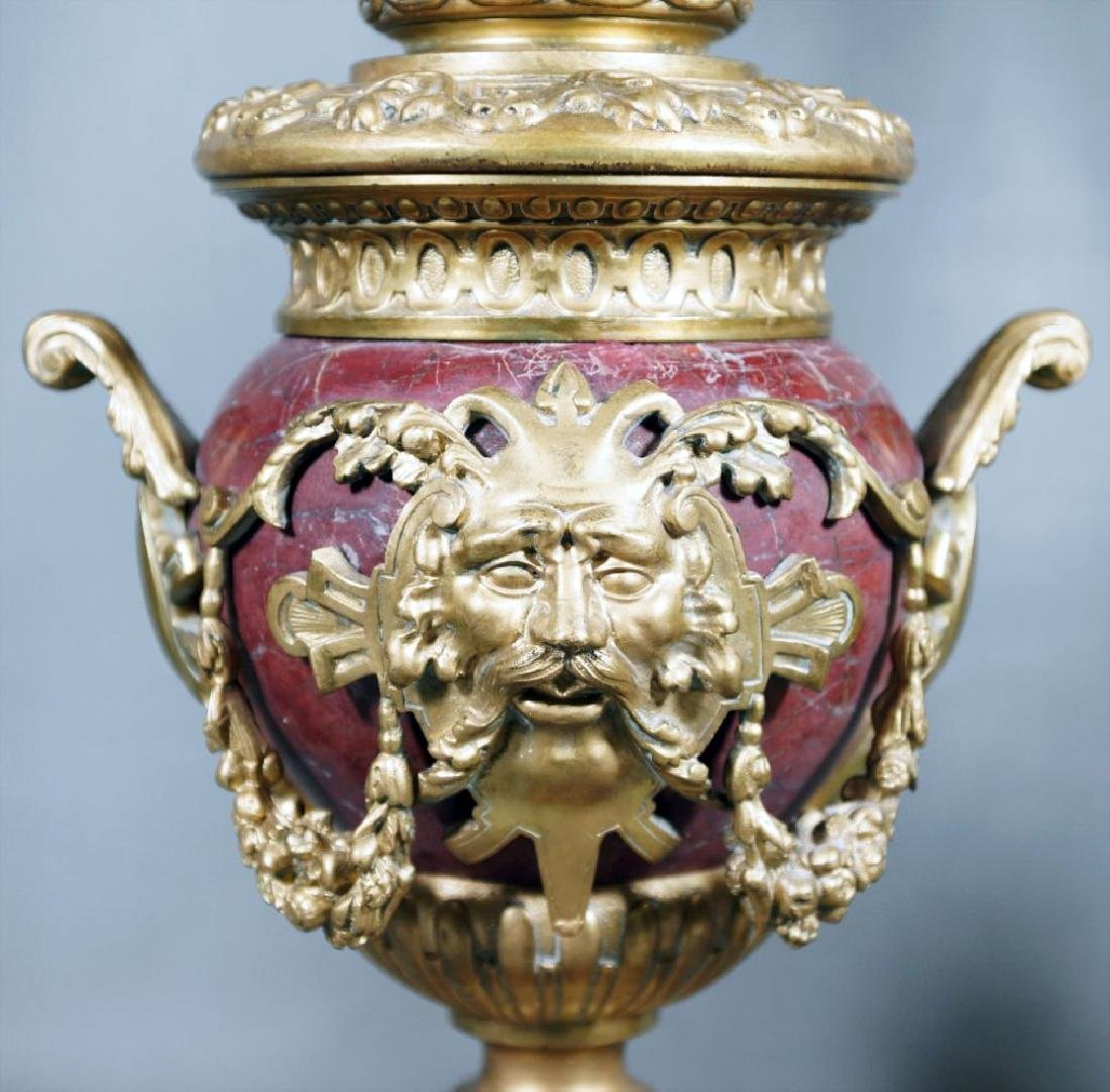 Pair Of Rouge Marble And Gilded Bronze Urns - 3