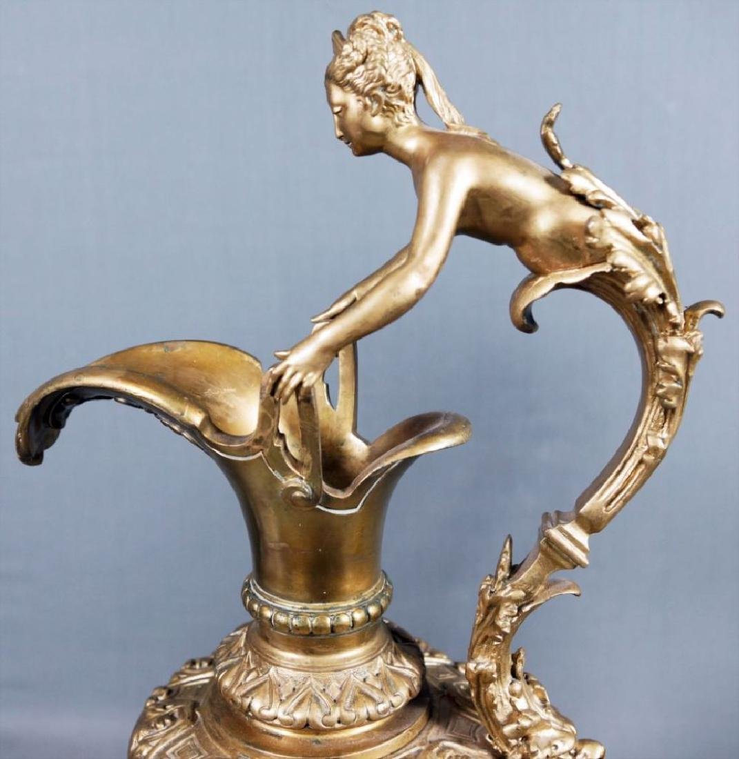 Pair Of Rouge Marble And Gilded Bronze Urns - 5