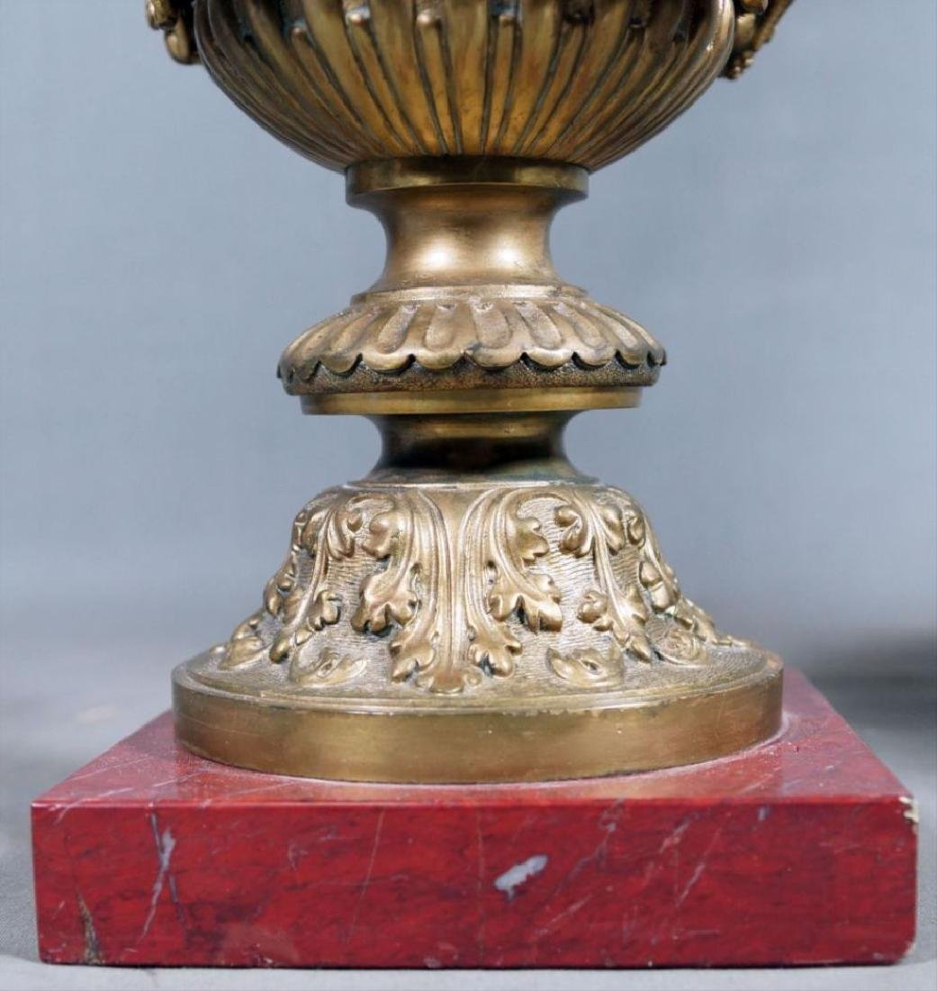 Pair Of Rouge Marble And Gilded Bronze Urns - 6