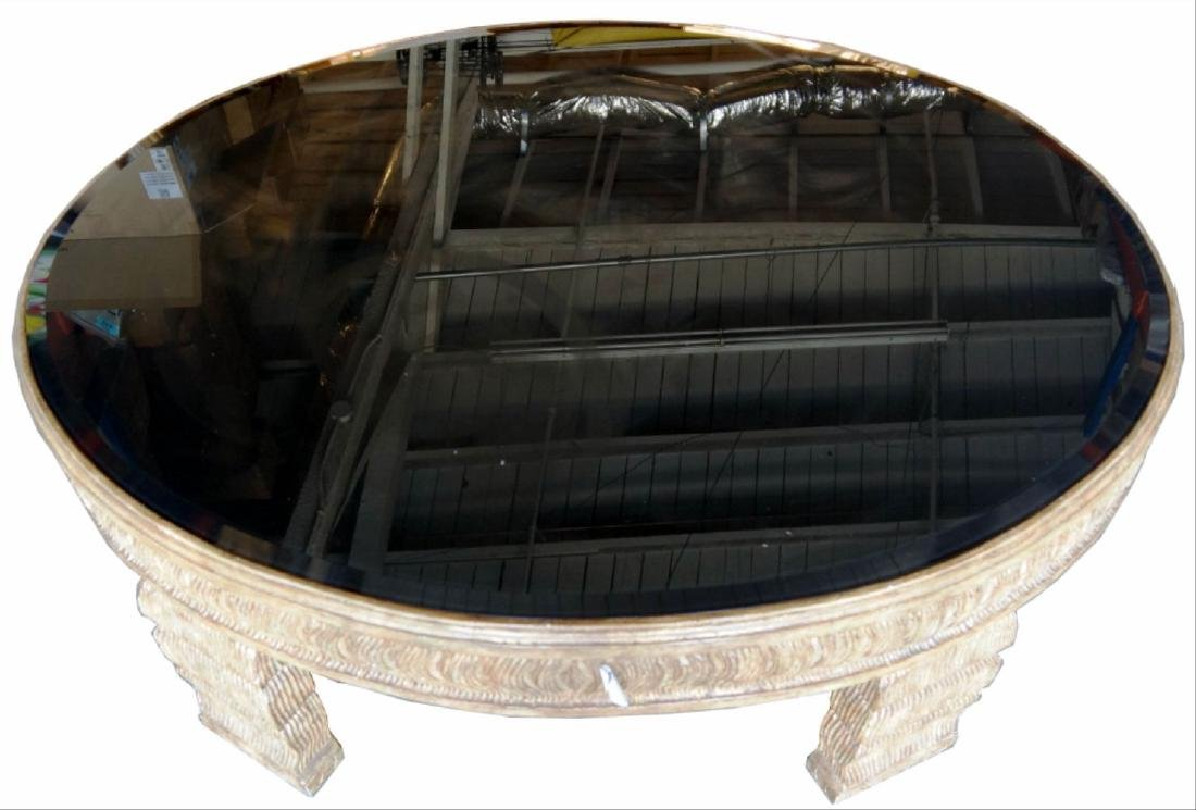 Glass Inset Oval Coffee Table