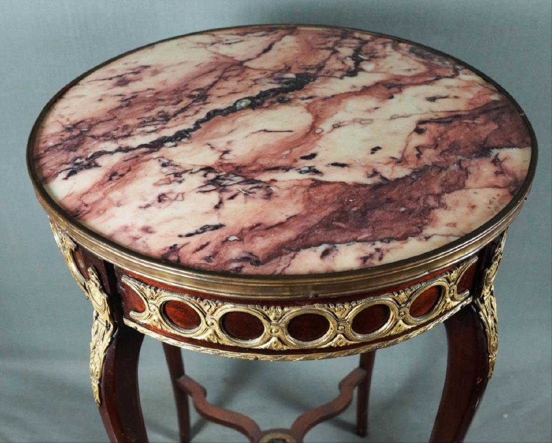 Marble Top And Bronze Round Wooden Table - 2