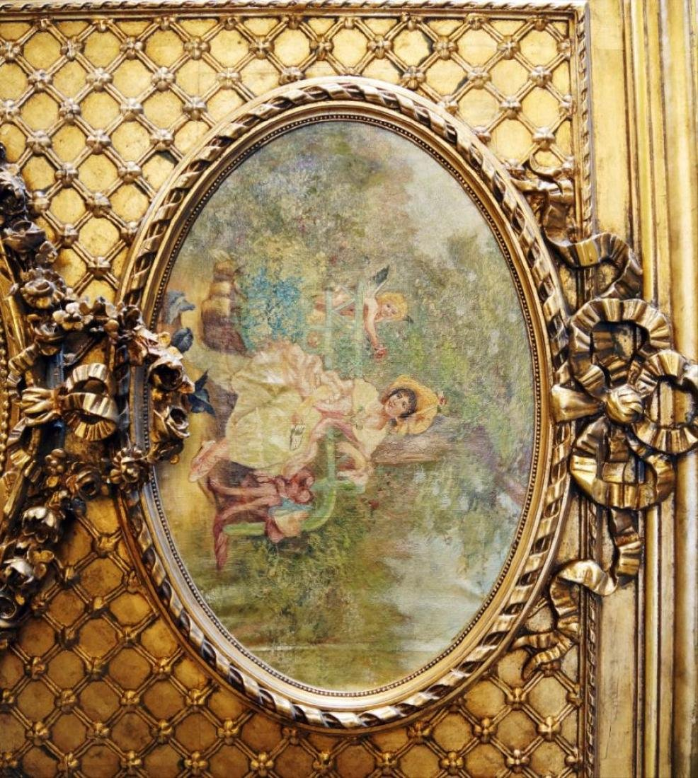 Large Gilded Floral Trumeau Mirror - 2