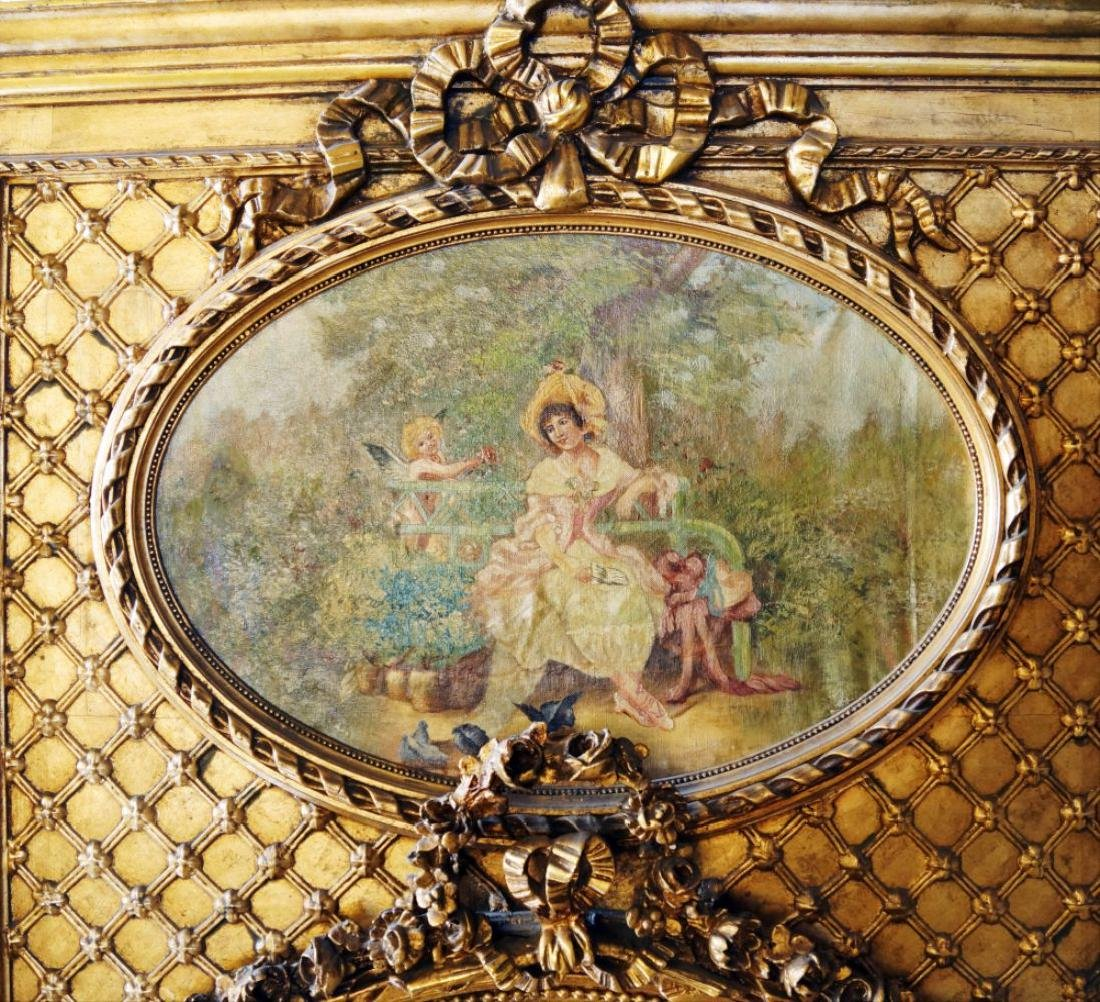 Large Gilded Floral Trumeau Mirror - 4