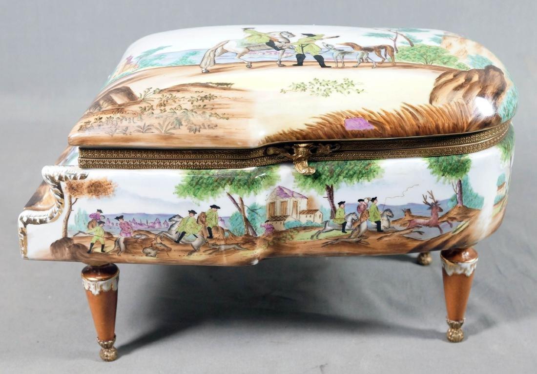 A26) Porcelain Piano Shaped Box