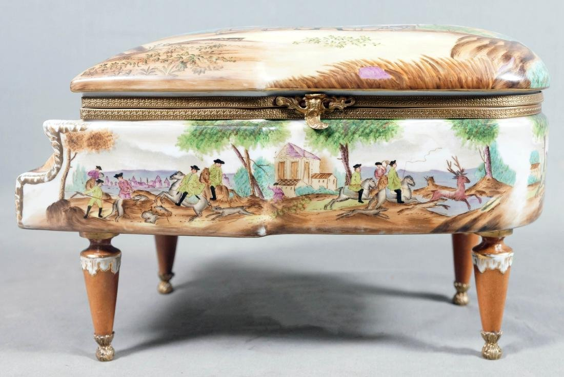 A26) Porcelain Piano Shaped Box - 2