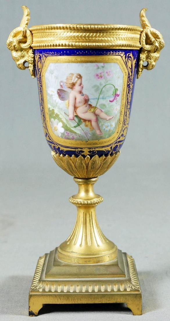 A50) Small French Sevres Style Bronze Mounted Porcelain