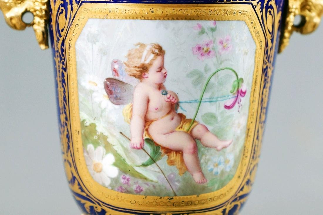 A50) Small French Sevres Style Bronze Mounted Porcelain - 2
