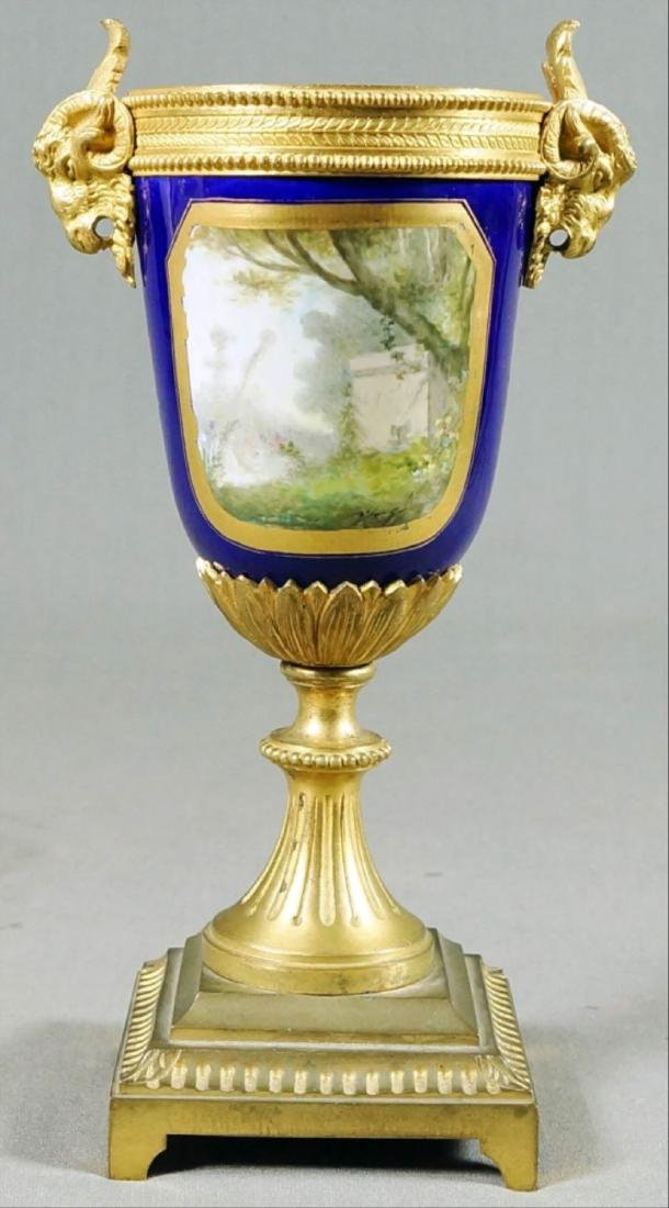 A50) Small French Sevres Style Bronze Mounted Porcelain - 3