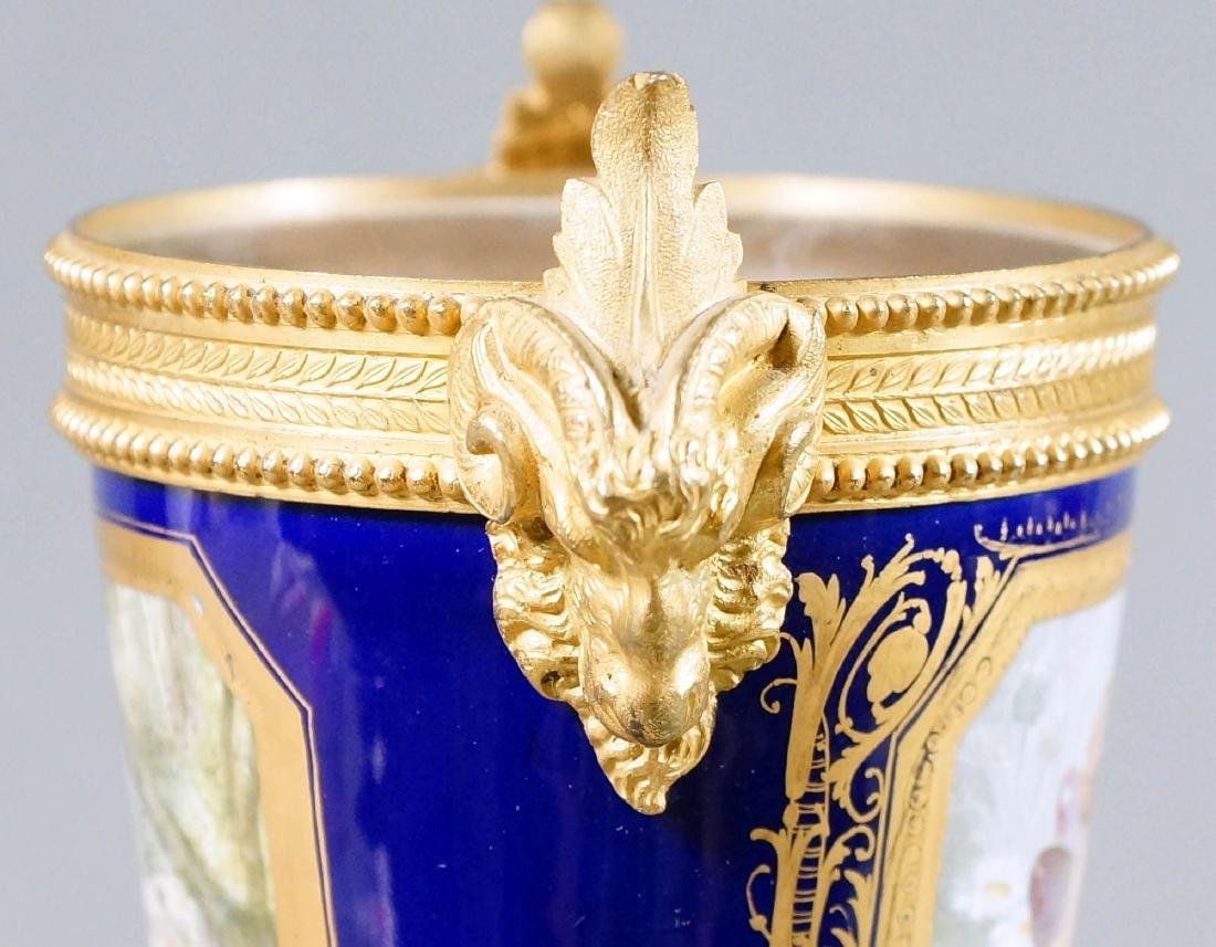 A50) Small French Sevres Style Bronze Mounted Porcelain - 4