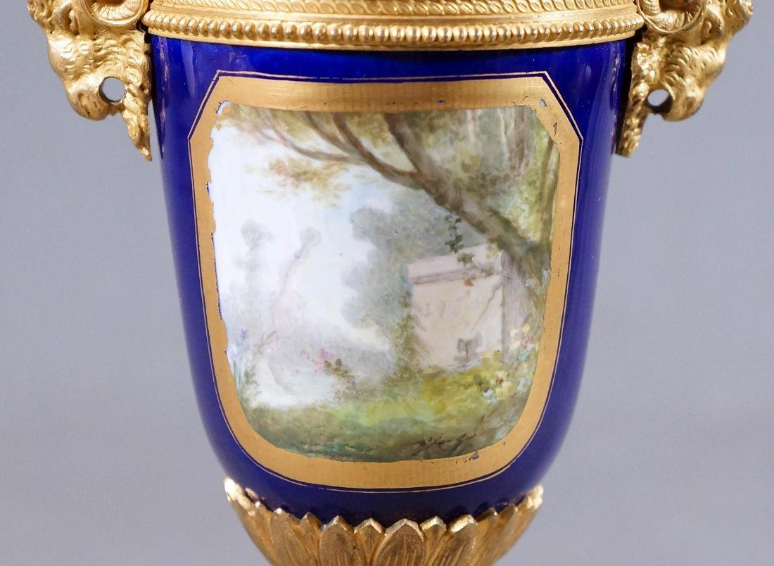 A50) Small French Sevres Style Bronze Mounted Porcelain - 5