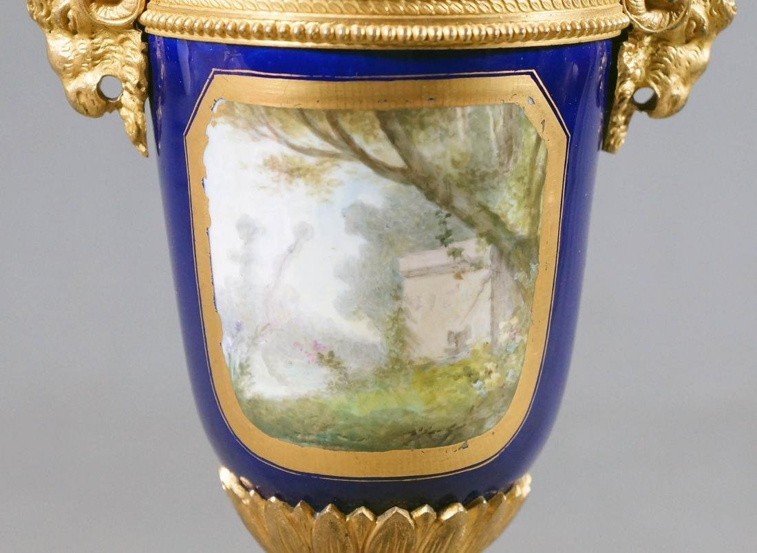 A50) Small French Sevres Style Bronze Mounted Porcelain - 6