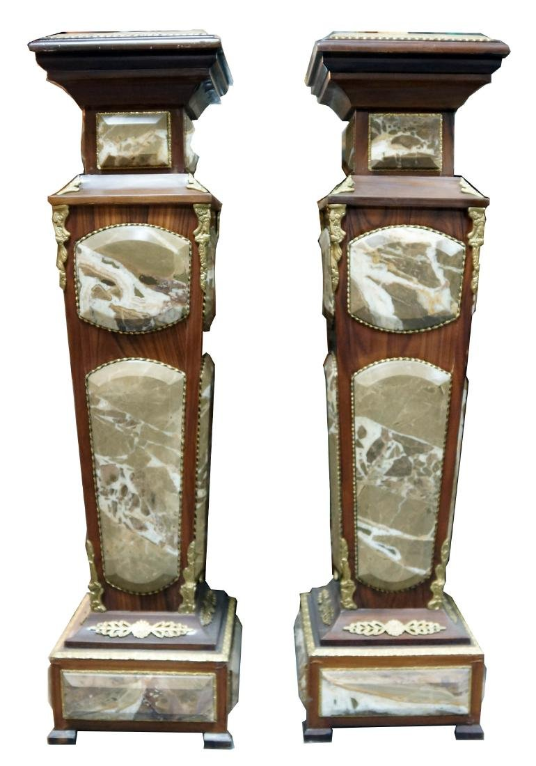 Pair Of Louis Xvi Style Wood And Marble Pedestals W/