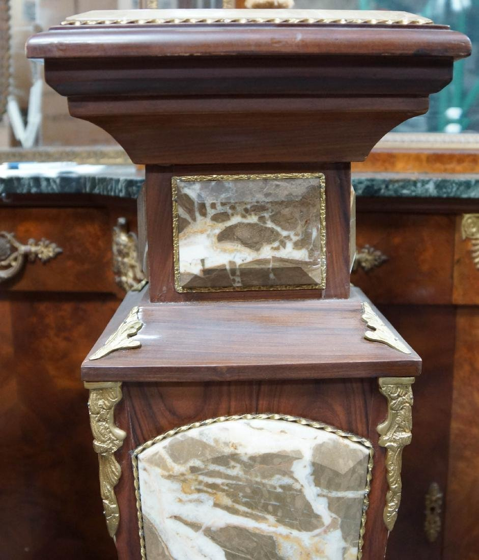 Pair Of Louis Xvi Style Wood And Marble Pedestals W/ - 4